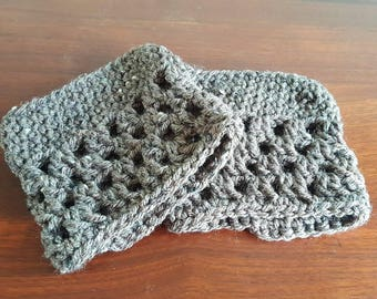 Ladies Crocheted Boot Cuffs, small, gray