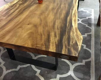 Live edge dining Table, Monkey Pod Acacia Dining Table, Table in Custom Size