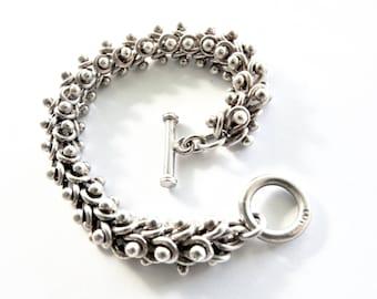 Vintage Mexican Sterling Heavy Toggle Bracelet