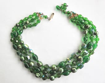Mid Century 3 Strand Art Glass Necklace with Rhinestone Ends