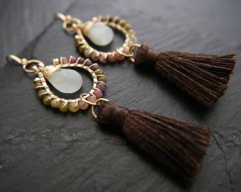 Tassel Earrings, Tourmaline Earrings, Gold Hoop Earrings, Aquamarine Earrings, Gemstone Earrings, Gold Filled, Wire Wrapped, Bridesmaid Gift