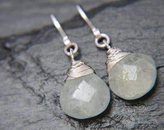 Natural Aquamarine Earrings, Sterling Silver Earrings, Gemstone Earrings, Milky Aquamarine, Teardrop Earrings, Simple, Delicate, Minimalist