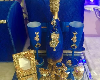 Royal blue Champaign set