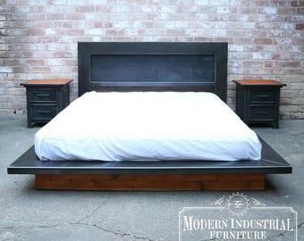 Modern Industrial Platform Bed | Steel Headboard | Low Profile | Wood Accents