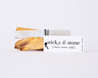 Sticks + Stone: Palo Santo and Selenite to cleanse, protect and uplift