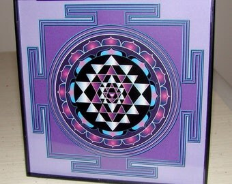 "Framed Sri Yantra 4"" x 4"""