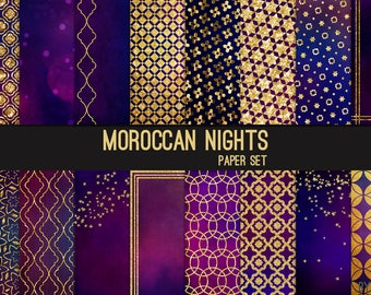 Moroccan Digital Paper Gold Glitter Blue Purple 12x12 Textures, Glitter, Foil, Metallic, Brushed Metal Backgrounds, Instant Download