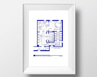 Carrie Bradshaw Apartment Art - TV Show Floor Plan for Sex and the City - BluePrint Poster of Carrie Bradshaw's Home