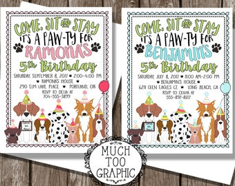 Dog Birthday Party Boy or Girl / Dog PAW-ty / Puppy Party Invitation / Puppy Adoption Party / Puppy Birthday Party / Come - Sit - Stay