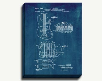 Canvas Patent Art - Clarence Fender Electric Guitar Gallery Wrapped Canvas Print