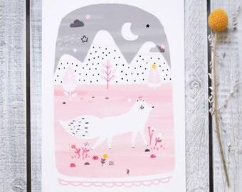 """Affichette -Grande carte-""""Isïl, la renarde arctique"""" / Illustration - Renard - Peint / Hiver - Noël - Carte de voeux / Pastel - Rose poudre"""
