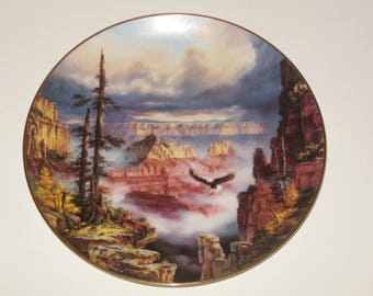 Collector Plate Where Eagles Soar Rudi Reichardt Grand Canyon God Bless America collection Danbury Mint