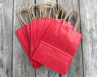 100 Pack Red Gift Bags/Wedding Welcome Bags/Red Gift Bags/Christmas Gift Bags