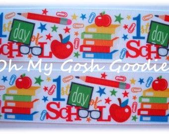 "1st DAY of * SCHOOL * Apple Grosgrain Ribbon 1.5""  - 5 Yards - Oh My Gosh Goodies Ribbon"