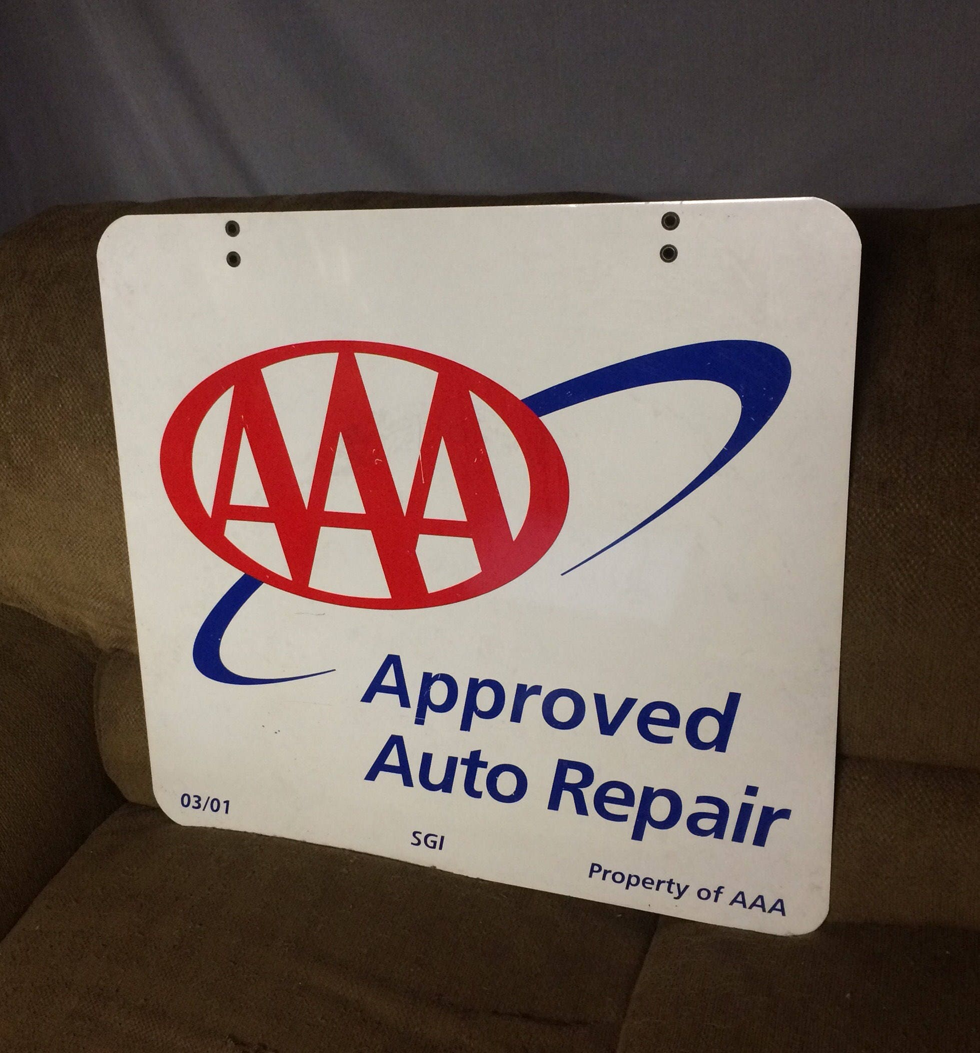 Vintage AAA Approved Auto Repair Sign 2 Sided, Metal Sign
