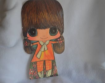 LITTLE MISS MOPPETS Big Eyed Girl American Greeting Card Vintage 1970's Beautiful Collection Girl's Bedroom