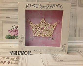 """Princess Crown"" decorative frame white wooden frame"