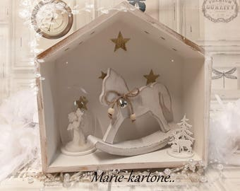 """Stars horse"" decorative wooden house shelf for child"