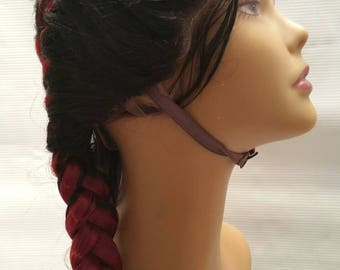 Burgundy red wine black root lace front wig 24 inch