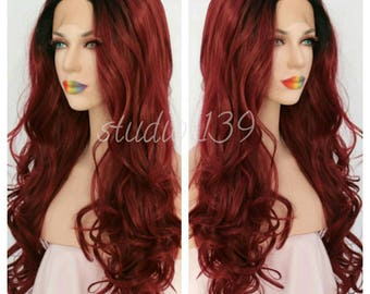 Burgundy ombre human hair blend lace front wig