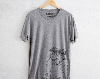 Tank The English Bulldog - Tri-Blend Unisex Crew Grey