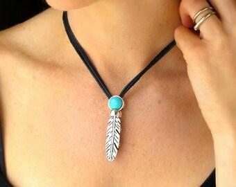 Boho Necklace-Turquoise Pendant Necklace-Silver Feather Necklace-Festival Necklace-Leather Necklace-Leather and Silver Jewelry-Turquoise