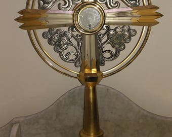 Religious art Art Deco period French church brass and chrome Monstrance with silver lunula and carrying case circa 1930s