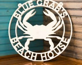 Blue Crab sign, seashore, beach, beach house,family sign, display outside or just to show your pride, get your own weatherproof sign.