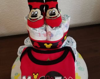 2 tier Mickey Mouse diaper cake