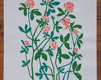 Clover woodcut print