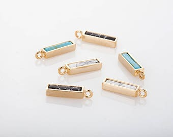 Turqouis Marble Bar(Small) Pendant, Necklace Bar Polished Gold Plated - 2 Pieces [G0243-PGTQ]