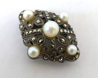 Art Deco Bucherer Peek A Boo Watch Top Marcasite 925 Sterling Watch Flip Top, Cultured Pearls Art Deco Watch Part Bucherer Watch Repair