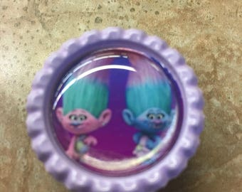 Trolls Satin & Chenille Inspired Bottlecap Retractable ID Badge Holder Name Tag Reel