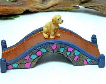 MINIATURE COBBLESTONE BRIDGE Fairy Bridge Miniature Displays Fairy Accessory Inside or Outdoor Durable Turquoise and Pink Puppy Option
