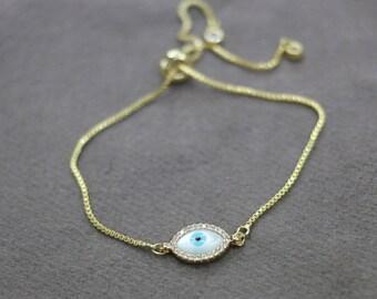 gold chain evil eye bracelet adjustable bracelet minimalist evil jewelry bohemian stackable bracelet handmade layering bracelet boho jewelry