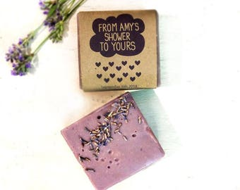 12 handmade shower favors / handmade soap favors / handmade bridal shower favors / lavender soap favors / from my shower to yours