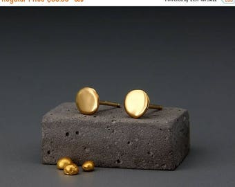 Solid 24K Gold Earrings Nuggets   Handmade Dainty Solid 24K Gold Nuggets Earrings   Solid Gold Stud Earrings