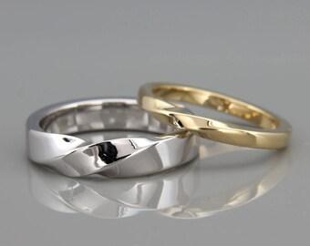 14k White & Yellow Gold Mubius Rings Set ring set   His and Hers Mobius Rings set   14k White and Yellow Gold Mobius Wedding Bands set