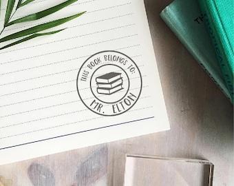 Circle This Book Belongs To Stamp   Custom Teacher Stamp - Book Stamp - Teacher Gift