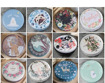 """6 pcs Assorted 3"""" Round Tins - Candy Biscuit Cookie Tins, Metal Cases - Gift Ideas, Wedding Party Favors, Shop Supplies"""