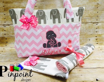 Baby Elephant Diaper bag set.     Customized, 100% made from scratch!