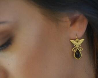 Brown earrings, gemstone earrings, teardrop earrings, smokey quartz earrings, antique style earrings, boho earrings, wedding earrings gold