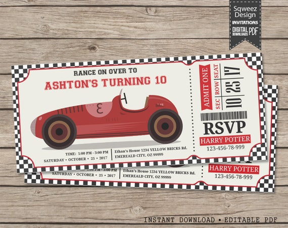 race car invitation  race car birthday invitation  racing