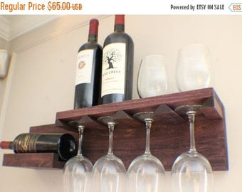 ON SALE Beautiful Space Saving You Pick the Stain Color Wall Mounted Wine Rack with Shelf and Glass Holder, Wine and Liquor Shelf