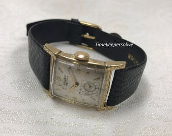 Vintage Original 1940s Gruen Very-Thin Hand-Winding 17J Men's Wrist Watch