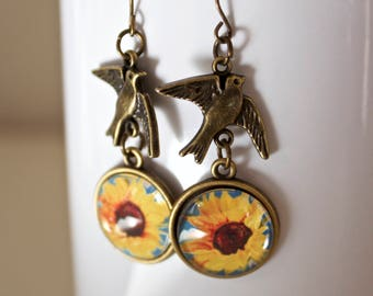 Cheerful Yellow Sunflower Flower Floral Earrings Antique Brass Finish Pierced Ear Dangle Earrings with Bird Charms