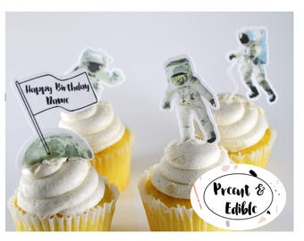 Space cupcake topper, Astronaut cupcake topper, Rocket cupcake ,Nasa cupcake,cake topper,boy birthday, stand up topper,  precut & edible