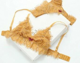 lace see through lingerie -bralette set -star bralette-mesh bralette -erotic bralette-erotic lingerie-lingerie set-pink brale