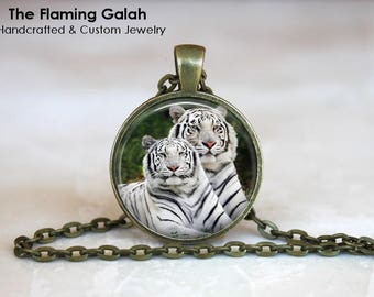 WHITE TIGERS Pendant • Snow Tigers • Arctic Tigers • Big Cat • Endangered Animals • Gift Under 20 • Made in Australia (P1357)