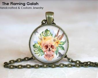 BOHO SKULL Pendant • Skull and Flowers • Floral Boho Skull • Human Skull & Flowers • BoHo Skull • Gift Under 20 • Made in Australia (P1509)